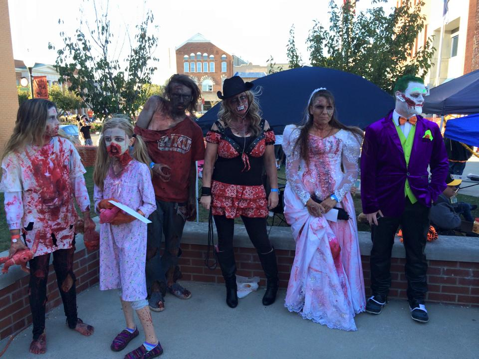 People dressed as zombies in downtown Somerset